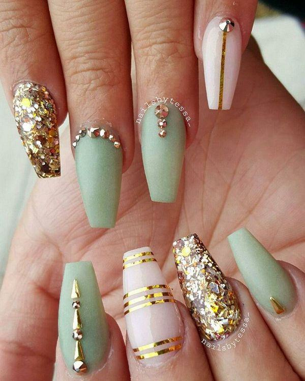 It is always a perfect day for glitter or sequin nails. The greenish nail  colour, when combined with the gold sequins and designed with a gold line  form, ... - 58 Creative Coffin Nail Designs For This Season