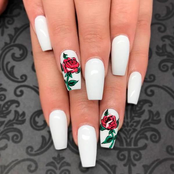 58 creative coffin nail designs for this season try this amazing white nails centred with rose pattern design for this design you have to apply white nail paints to all your nails mightylinksfo
