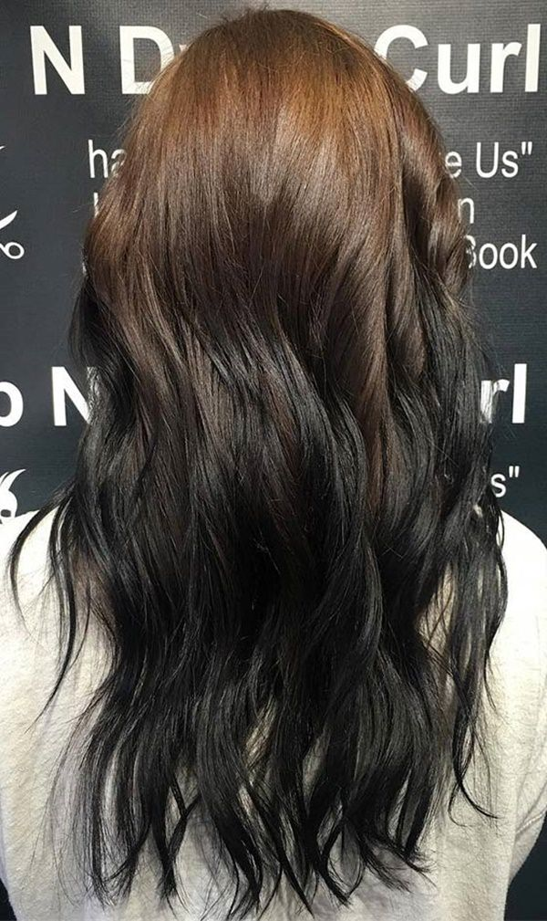From The Tips To Mid Shaft Hair Is On Black Color And Few Parts Of Upper With Brown Shade This Reverse Ombre Gives An Intense
