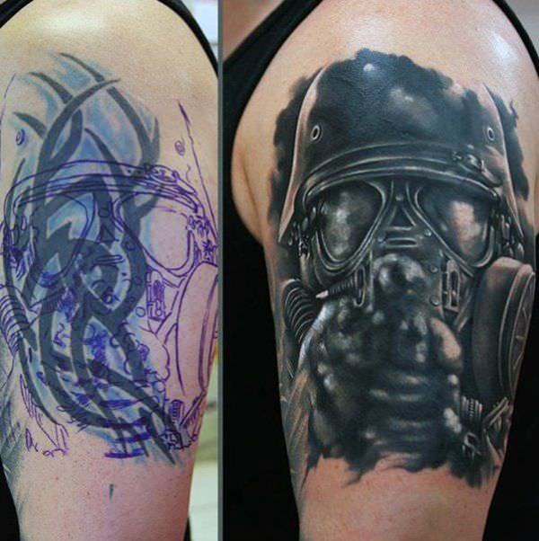 719210b98 Tribal To An Armed Force. Looking at more great cover up tattoos on arm ...