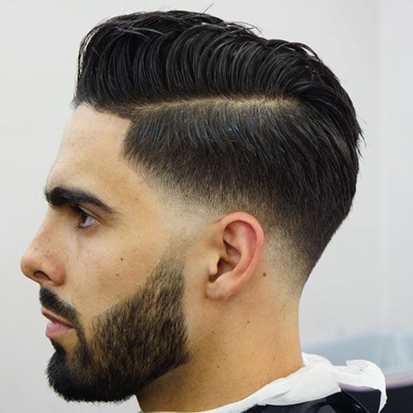 Low Fade Hairstyle With Beard Bpatello