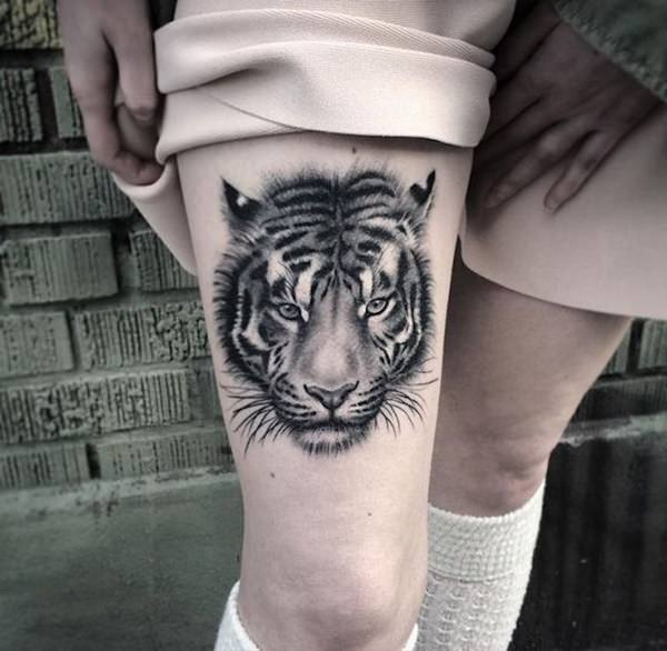 f66d08eca Girl Tiger Tattoo. She has matching outfits as well. It is something you  could do to elaborate on your tattoo.